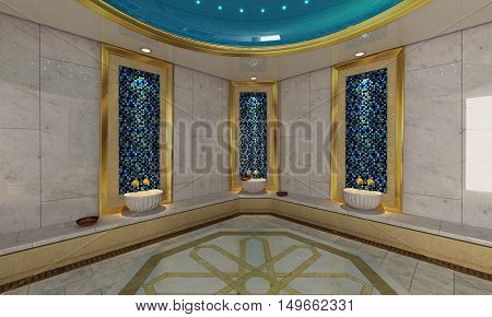 Turkish bath modern 3D design and rendering for your project