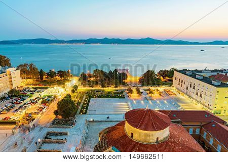 View of old town Zadar in the evening
