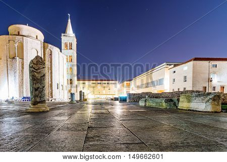 Zadar old town centre architecture at night