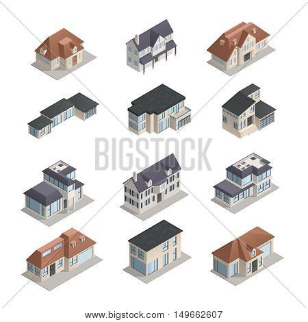 Isometric mpdern low-rise suburban houses of different shape set isolated on white background vector illustration