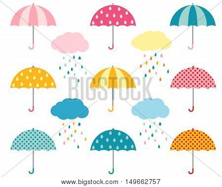 Rainy weather flat umbrellas set and cute clouds with colorful raindrops.