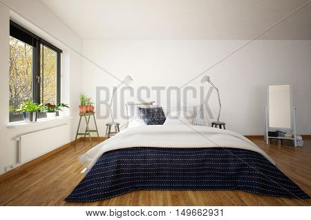 Large king size divan bed in a modern bedroom interior with a hardwood parquet floor, windows and a freestanding mirror, 3d rendering