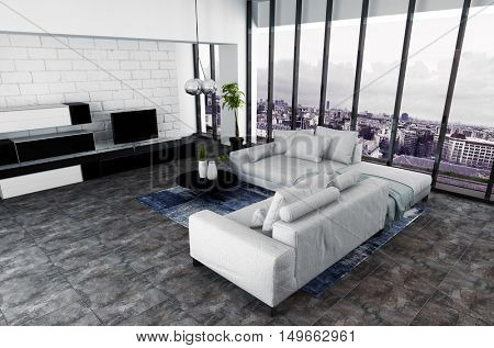 3D rendering of high angle view on spacious living room with hanging ceiling lamp and entertainment center on wall