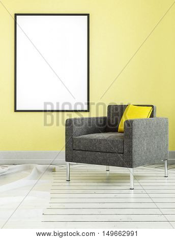 Square shaped living room chair with yellow pillow and empty frame on matching wall. 3D rendered scene.