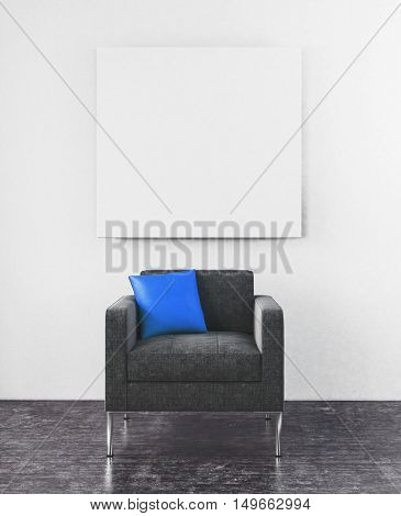 3D rendering scene of centered sofa chair with little blue pillow and blank square frame hanging on wall