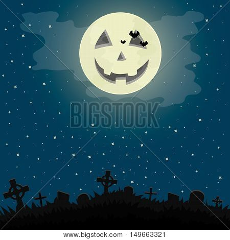 Vector illustration of a Halloween night in the cemetery.