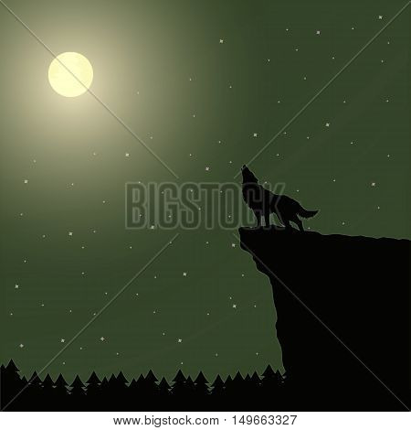 Vector illustration of a wolf howling at the moon.