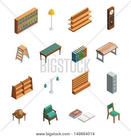 Bookstore and library isometric interior elements set with furniture isolated on white background vector illustration