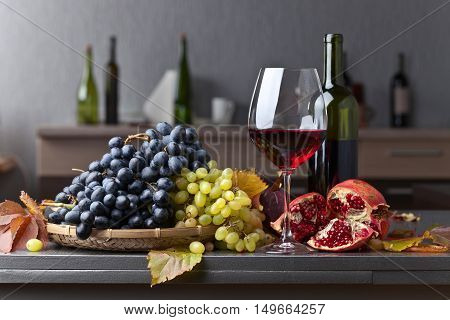Ripe Juicy Grape And Glass Of Red Wine