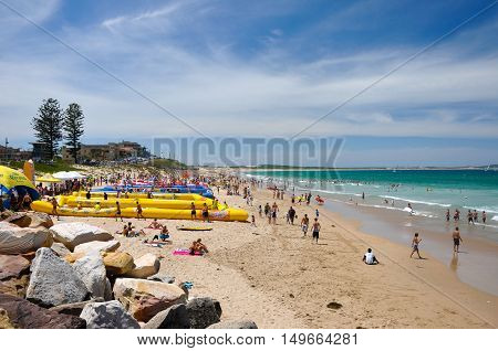 Sydney, Australia - January 31, 2009: People relax at Cronulla beach, one of most famous beach in Australia.