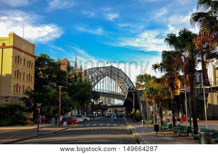 Sydney, Australia - January 31, 2001: Road to Sydney Harbour Bridge, one of very famous tourist attraction in Australia