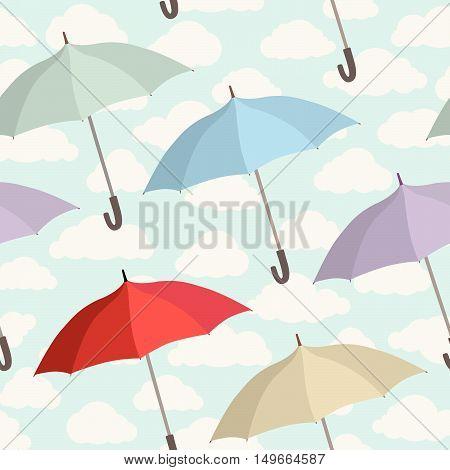 Umbrella seamless pattern. Cloudy sky tiling pattern. Rainy autumn concept background