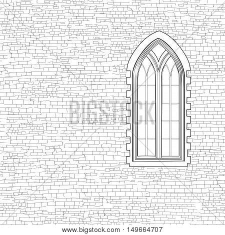 Gothic window engraving background. Shabby brick wall sketch pattern Building facade