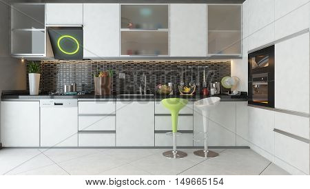 white ceramic white color wooden furniture under light modern kitchen 3D rendering and design for your project