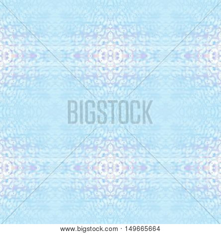 Abstract geometric seamless background in quiet colors. Regular delicate ornaments white, lilac and pastel blue blurred.