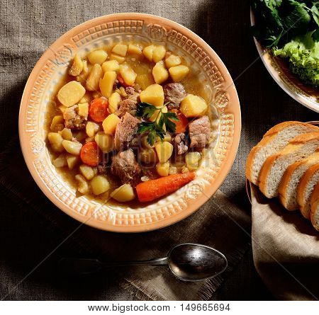 homemade beef stew, fresh vegetables, fresh herbs on the original napkin