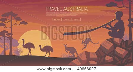 Australian landscape poster. Every element is located on a separate layer. Images is cropped with Clipping Mask. Easy to edit
