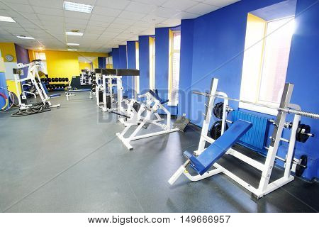 Interior of a fitness hall with sport equipment