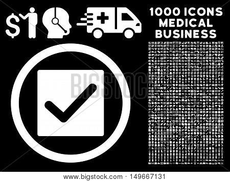 White Check glyph rounded icon. Image style is a flat icon symbol inside a circle black background. Bonus clip art is 1000 medical business pictographs.