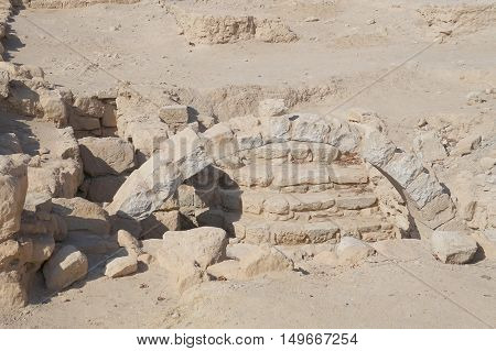 Biblical Tamar park, Arava, South Israel. Remains of the ancient bathhouse from Roman period