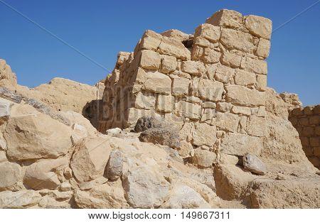 Biblical Tamar park, Arava, South Israel. Remains of Israelite period tower