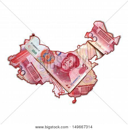 The Silhouette Of The State Of China Fills The National Currency