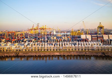 Cargoes In Sea Port. Container Terminal