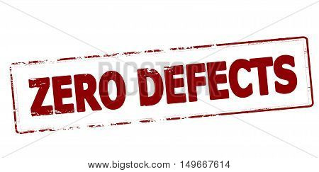 Rubber stamp with text zero defects inside vector illustration