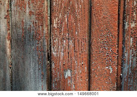 Textured background of old brown painted wooden boards