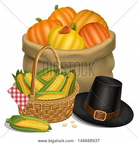 Happy Thanksgiving card. Hat of pilgrim with bag full orange pumpkins and basket full corn. Vector illustration