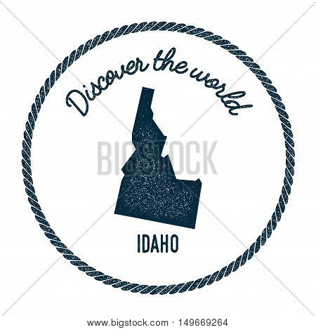 Idaho Map In Vintage Discover The World Rubber Stamp. Hipster Style Nautical Postage Stamp, With Rou