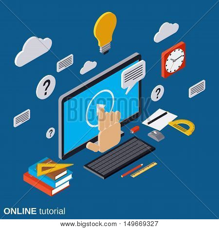 Online education, learning, tutorial, user guide flat isometric vector concept illustration