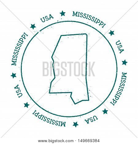 Mississippi Vector Map. Retro Vintage Insignia With Us State Map. Distressed Visa Stamp With Mississ