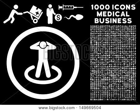 White Prisoner glyph rounded icon. Image style is a flat icon symbol inside a circle black background. Bonus clip art is 1000 healthcare business pictograms.