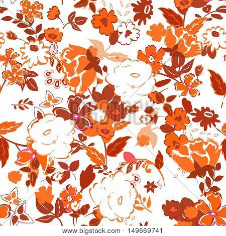 Vector illustration of floral seamless. Isolated hand drawn orange flowers with leafs on white background. Autumn colors pattern.