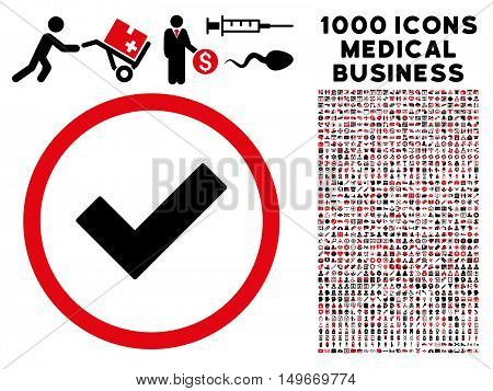 Intensive Red And Black Accept glyph bicolor rounded icon. Image style is a flat icon symbol inside a circle white background. Bonus clipart has 1000 medical business pictograms.