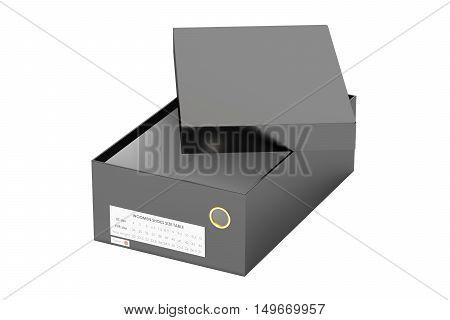 empty black shoebox 3D rendering isolated on white background