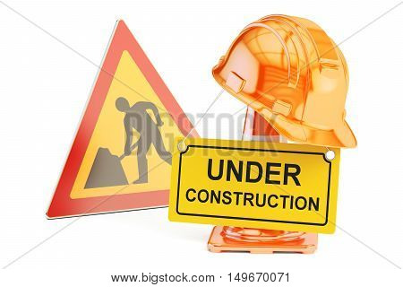 Under construction concept. Traffic cones hardhat and road sign. 3D rendering isolated on white background