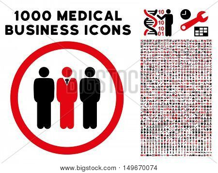 Intensive Red And Black Clerk Staff glyph bicolor rounded icon. Image style is a flat icon symbol inside a circle white background. Bonus clipart has 1000 medical business design elements.