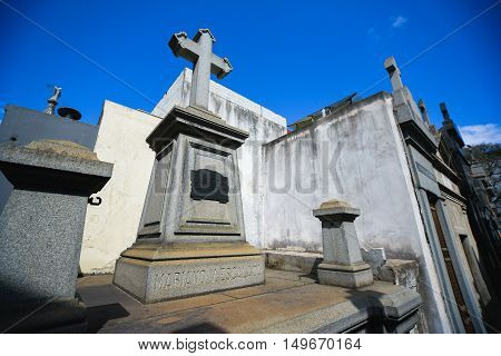 Buenos Aires Argentina - Sept 23 2016: at the La Recoleta Cemetery in Capital Federal.