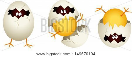 Scalable vectorial image representing a chick cracked egg shell, isolated on white.
