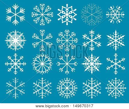 Vector Set of Stylized White Snowflakes for Christmas Designs