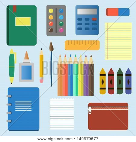 School supplies from student's backpack. Vector illustration