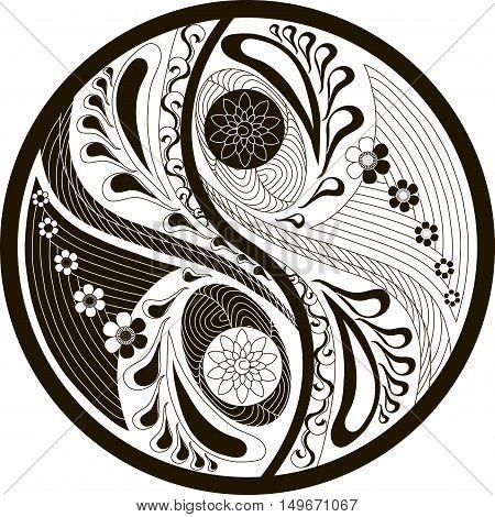 Yin-yang symbol black and white vector illustration