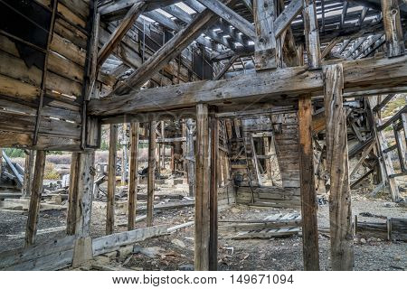 ruins of gold mine  (processing mill) near Mosquito Pass in Rocky Mountains, Colorado