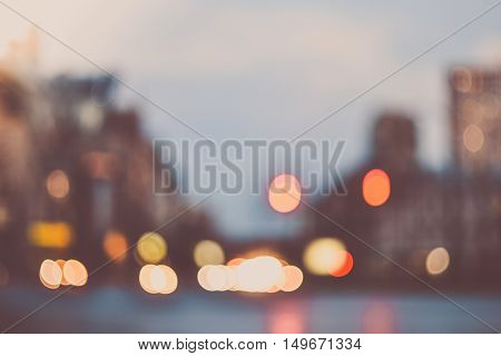Blurred evening city lights out of focus background instagram effect