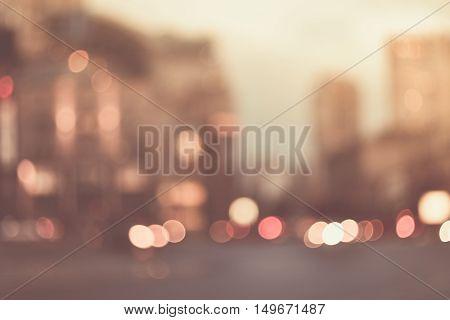 Blurred evening city street lights bokeh background
