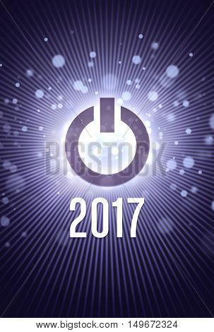2017 new year starting in light with a power button