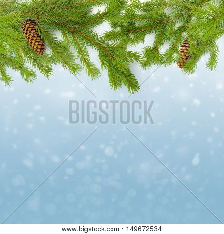 Green Christmas Fir branches with cones and snowflakes on blue background.