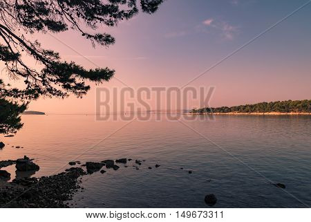 The pristine coastline and crystal clear water of the island of Rab Croatia.
